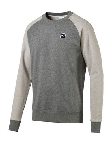 Puma Crew Neck Cotton Sweater-GREY-Medium