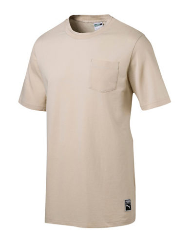 Puma Classics Pocket Pique Cotton Tee-KHAKI-Small