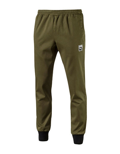 Puma Classics T7 Woven Pants-GREEN-X-Large