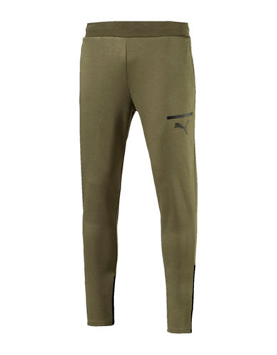 Puma Sporty Slim-Fit Sweatpants-GREEN-X-Large