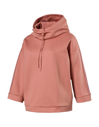 Puma Funnel Neck Hoodie Sweatshirt-BROWN-Medium