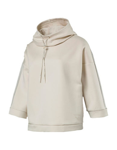 Puma Funnel Neck Hoodie-BEIGE-X-Small