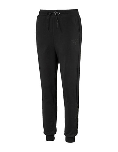 Puma Lace-Up Jogger Pants-BLACK-Medium