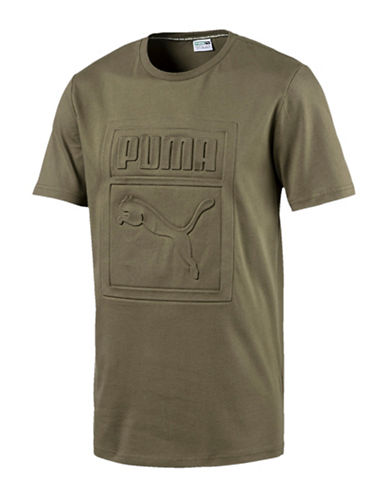 Puma Archive Embossed Logo T-shirt-GREEN-X-Large