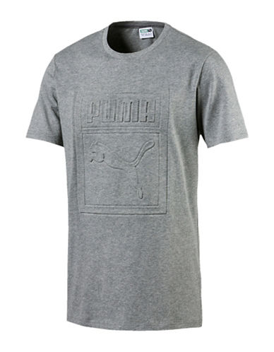 Puma Archive Embossed Logo T-shirt-GREY-XX-Large