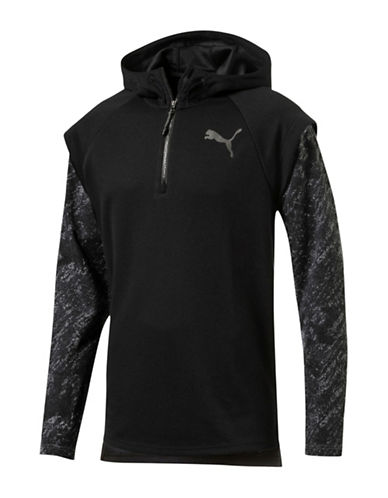 Puma Zip Placket Energy Hoodie-BLACK-Large