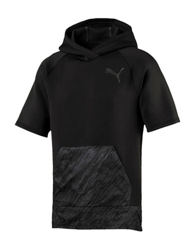 Puma Energy Short-Sleeve Hoodie-BLACK-X-Large