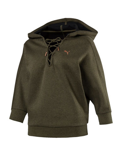 Puma Yogini Lace-Up Hoodie-GREEN-X-Small