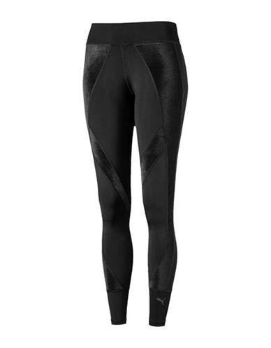 Puma Velvet Panel Active Leggings-BLACK-X-Large