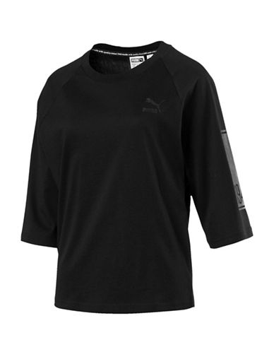 Puma Logo Cotton Tee-BLACK-X-Small