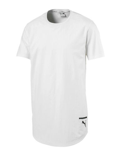 Puma Reflective Logo Cotton Tee-WHITE-Medium