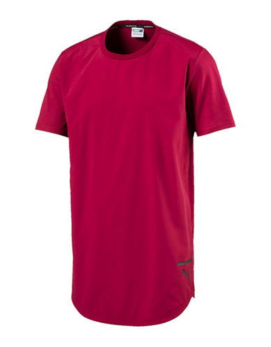 Puma Reflective Logo Cotton Tee-RED-Medium