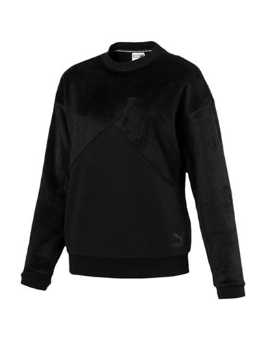 Puma Fabric Block Crew Sweater-BLACK-Large