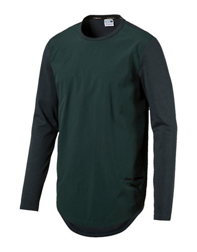 Puma Evo Long-Sleeve Tee-GREEN-Medium