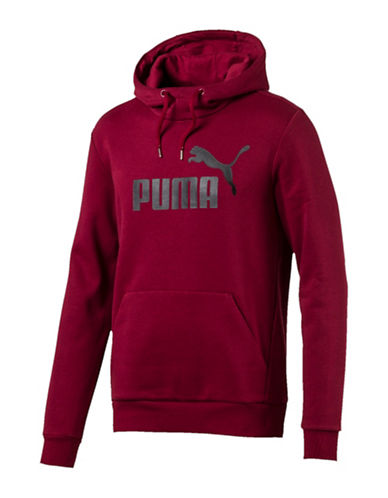 Puma Essential No.1 Long-Sleeve Hoodie-RED-X-Large