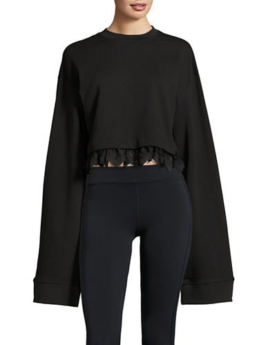 Puma FENTY x PUMA Cropped Long Sleeve Sweater with Lace Trim-COTTON BLACK-Small 89184256_COTTON BLACK_Small