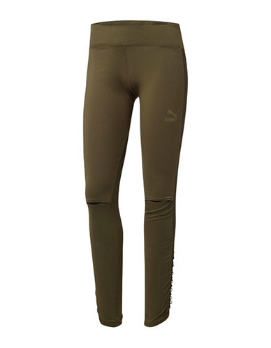 Puma Lux Leggings-GREEN-Large