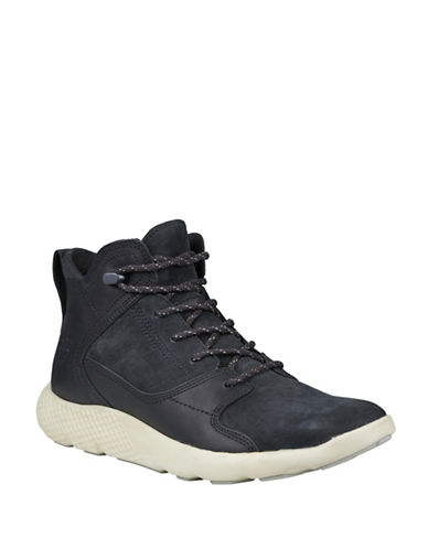 Timberland Fly Roam Leather High-Top Sneakers-BLACK-11.5
