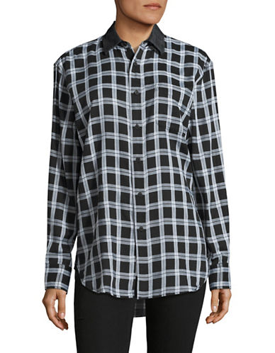 Rag & Bone Plaid Boyfriend Shirt-BLACK-Large