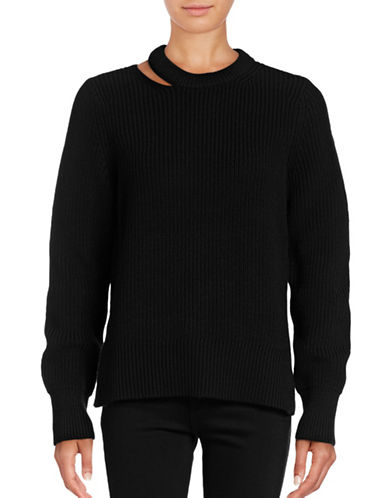 Rag & Bone/Jean Ginnie Split Neck Sweater-BLACK-Small