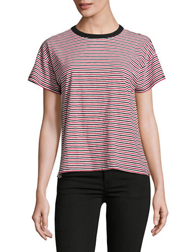 Rag & Bone/Jean Striped Crew Neck T-Shirt-MULTI-Large