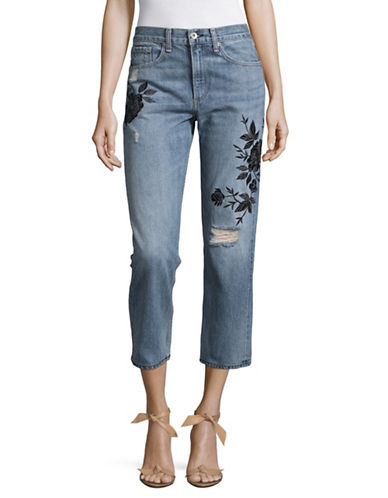 Rag & Bone/Jean Cropped Embroidered Jeans-BLUE-29