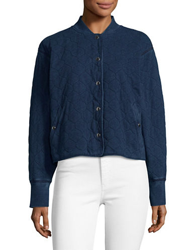 Rag & Bone/Jean Quilted Denim Bomber Jacket-BLUE-Large