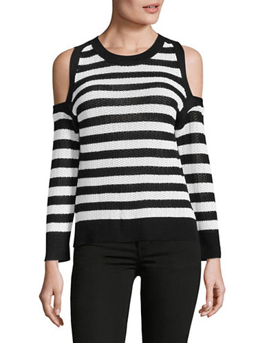 Rag & Bone/Jean Cold-Shoulder Stripe Sweater-BLACK/WHITE-Medium