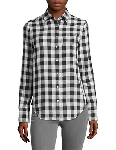 Rag & Bone/Jean Two-Faced Gingham Shirt-BLACK MULTI-Medium