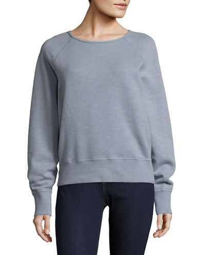 Rag & Bone/Jean Cropped Classic Pullover-BLUE-Large