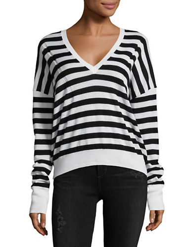 Rag & Bone/Jean Evan Merino Wool Striped Sweater-WHITE-Small