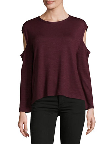 Rag & Bone/Jean Cold-Shoulder Long-Sleeve Tee-RED-X-Small