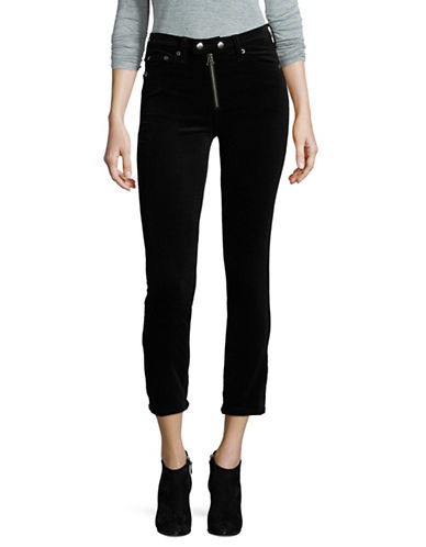 Rag & Bone/Jean Dojo Exposed Zip Velvet Crop Pants-BLACK-30