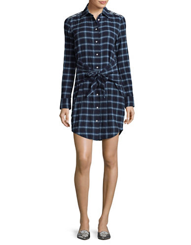 Rag & Bone/Jean Sadie Plaid Shirtdress-BLUE-Small