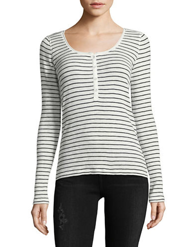 Rag & Bone/Jean Striped Cotton Henley-WHITE-X-Small