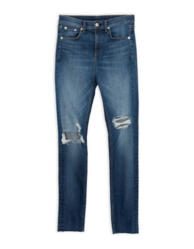 Rag & Bone/Jean Distressed High Rise Skinny Jeans-BLUE-24