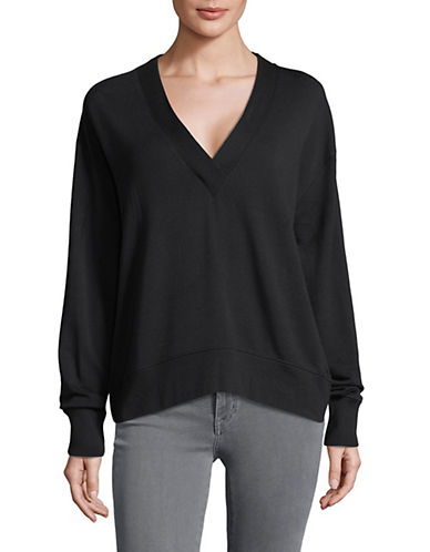 Rag & Bone/Jean Flora V-Neck Pullover-BLACK-Small 89974102_BLACK_Small