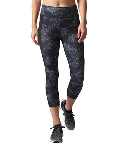 Adidas Floral Climalite Capri Leggings-BLACK-Medium 89170816_BLACK_Medium