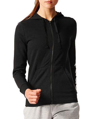 Adidas Essentials Linear Hoodie-BLACK WHITE-Small 89080426_BLACK WHITE_Small