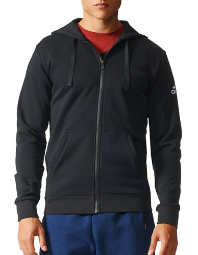 Adidas Essentials Base Full-Zip Fleece Hoodie-BLACK-Large