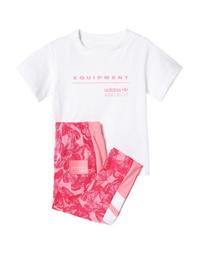 Adidas Two-Piece Originals EQT Pants Set-PINK-12 Months