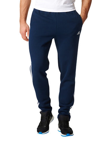 Adidas Essentials Three-Stripe Fleece Pants-BLUE-Small