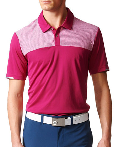 Adidas Golf Climachill Heather Block Competition Polo-RED-X-Large
