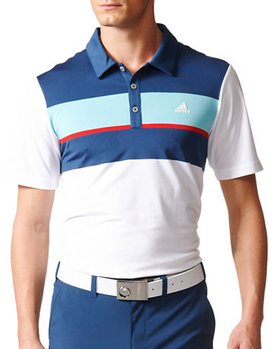 Adidas Golf Climacool Chest Block Polo-WHTIE-Medium