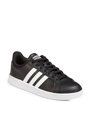 Adidas CF Advantage Striped Low Top Sneakers-BLACK-11.5