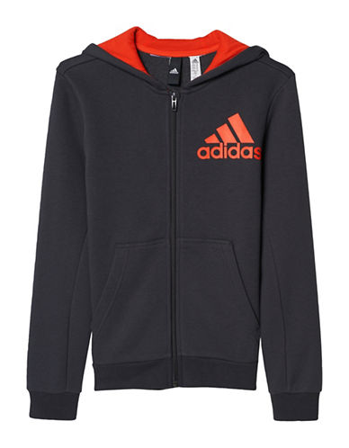 Adidas Essentials Logo Full Zip Hoodie-BLACK-Large 88985037_BLACK_Large