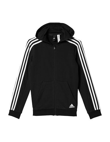 Adidas Striped Zip-Front Hoodie-BLACK-X-Large 89637274_BLACK_X-Large