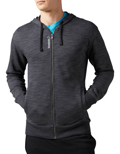 Reebok Elements Marble Melange Full-Zip Hoodie-BLACK-X-Large 88907671_BLACK_X-Large