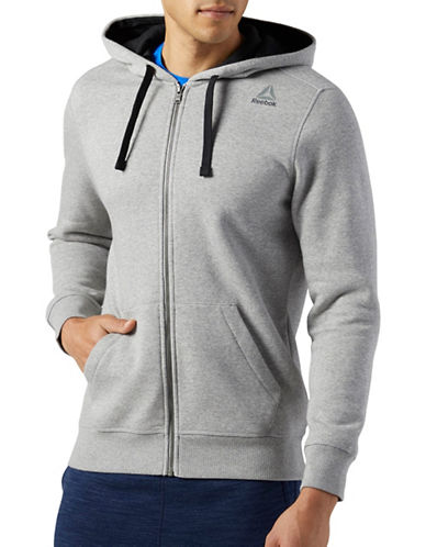Reebok Elements Fleece Full Zip Hoodie-GREY-X-Large 89389455_GREY_X-Large