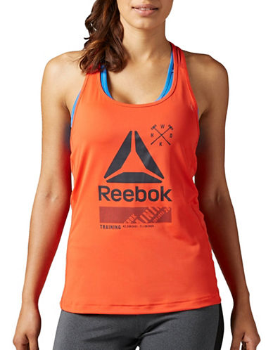 Reebok Activchill Racerback Graphic Tank-RED-Large